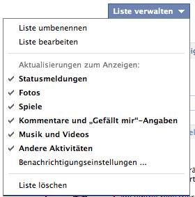 Facebook Menü Meldungsarten auswählen