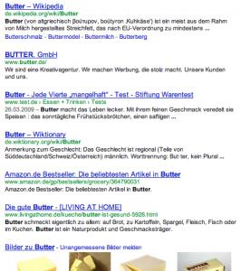Google Suchergebnisse Butter