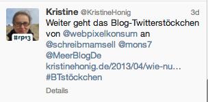 Blog-Twitterstoeckchen Tweet