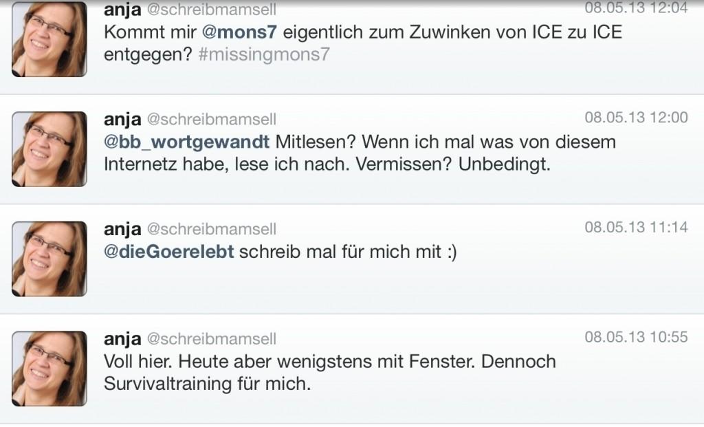 Tweets Rückfahrt Berlin-Frankfurt