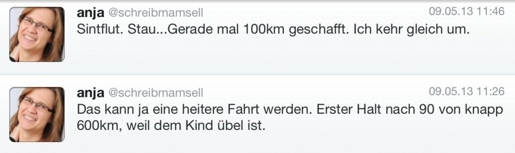 Tweets Fahrtbeginn nach Segeberg