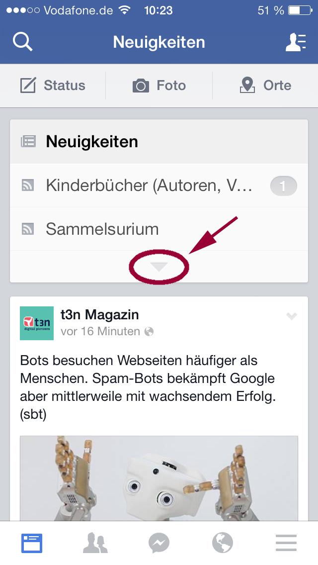 Facebook App Neuigkeiten aufklappen