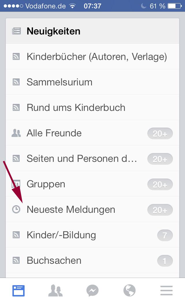 FacebookApp_Sortieren