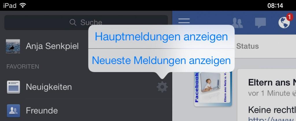 Facebook App iPad Neueste Meldungen
