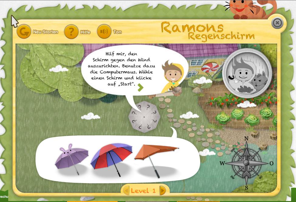 Forschergarten Spiel Ramons Regenschirm