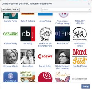 Facebook Interessenliste Kinderbuchautoren und Verlage