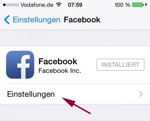 Facebook-Einstellungen iPhone